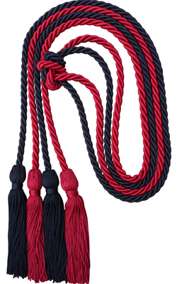 LDF Graduation Honor Cords 2 Pieces 3-Colored Braided Honor Cords Double Graduation Cords Honors Graduation Decoration with Tassels for Graduation Students Royal Blue /& Red /& White